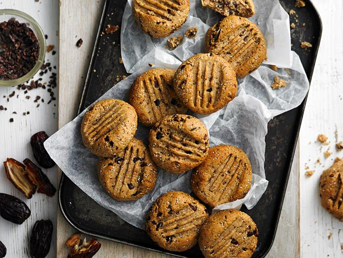 "[Sugar-free cacao and hazelnut cookies](https://www.womensweeklyfood.com.au/recipes/sugar-free-cacao-and-hazelnut-cookies-28529|target=""_blank"")  With chia seeds for extra protein and crunch, these healthy cookies won't disappoint when it comes to flavour."