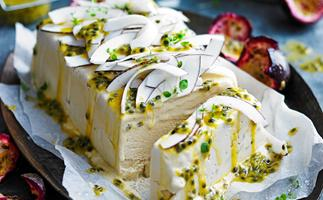 Sugar-free salted coconut and passionfruit semifreddo