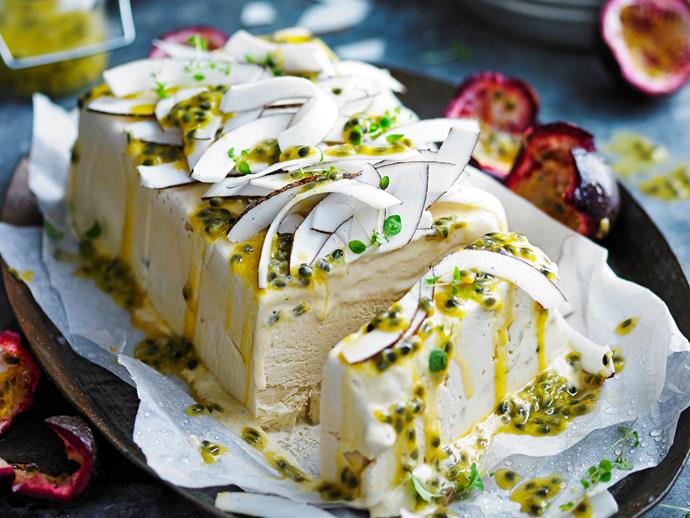 "**[Sugar-free salted coconut and passionfruit semifreddo.](https://www.womensweeklyfood.com.au/recipes/sugar-free-salted-coconut-and-passionfruit-semifreddo-28530|target=""_blank"")** This divine dessert is the perfect finish to a summer barbeque. Sugar-free and dairy-free too, it will hit the spot!"