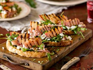 Grilled peach and prosciutto bruschetta