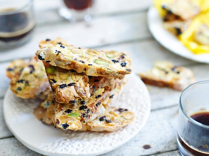 "**[Sugar-free biscotti with dried fruit](https://www.womensweeklyfood.com.au/recipes/sugar-free-biscotti-with-dried-fruit-28534|target=""_blank"")**  This biscotti is perfect with a cuppa. Packed with dried fruit and no added sugar, you can have your treat and eat it too!"