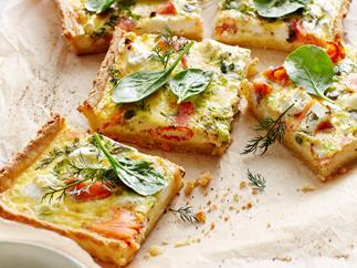 Smoked ocean trout ricotta quiche