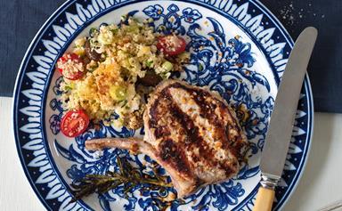 Couscous salad with pork cutlets