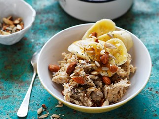 soy porridge with banana, whole seeds and almonds