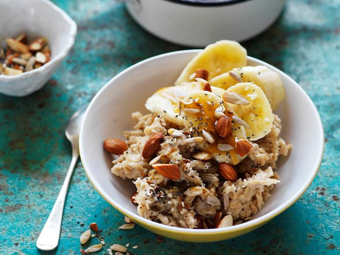 """**[Soy porridge with banana, whole seeds and almonds](https://www.womensweeklyfood.com.au/recipes/soy-porridge-with-banana-whole-seeds-and-almonds-16517
