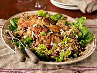 Harvest salad with grapes and barbecue chicken