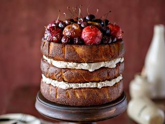 Stone fruit gâteau with cinnamon cream and roasted fruit topping