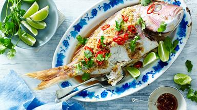 Ginger and lemon grass whole baked snapper