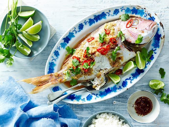 "**Ginger and lemongrass whole baked snapper** <br><br> Prepare your tastebuds for a flavour explosion with this glorious ginger and lemongrass baked whole snapper. Drizzle on the sweet chilli sauce and dig in. <br><br> [**Read the full recipe here**](https://www.womensweeklyfood.com.au/recipes/ginger-and-lemon-grass-whole-baked-snapper-28569|target=""_blank"")"