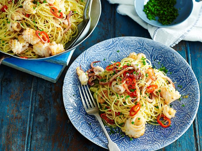"**[Calamari spaghettini](https://www.womensweeklyfood.com.au/recipes/calamari-spaghettini-28571|target=""_blank"")**  Tender, perfectly cooked calamari is beautiful tossed through light spaghettini to create this divine seafood pasta dish. Cooked with a zesty sauce, it's perfect for light dinner any time of year."