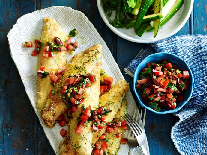 "**[Semolina-crusted fish with fresh tomato salsa](https://www.womensweeklyfood.com.au/recipes/semolina-crusted-fish-with-fresh-tomato-salsa-28572|target=""_blank"")**  Crumbed in a light, golden semolina topping, these flaky whiting fillets are cooked to tender perfection and served with a zesty tomato salsa. This dish is quick to make, perfect for after work."