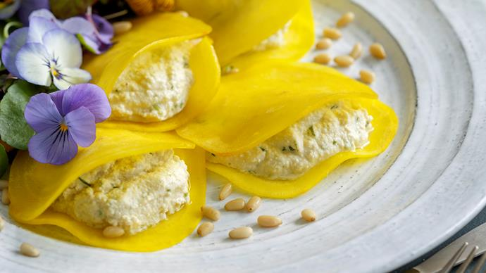 Golden beetroot ravioli with herbed nut cheese