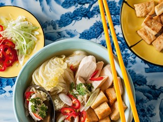 Chicken soup with wong bok, hokkien noodles, tofu and chilli
