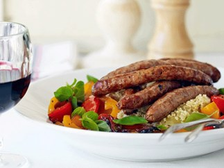 Merguez with peppers and couscous
