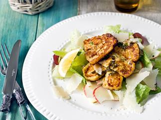 Haloumi with cos and apple salad