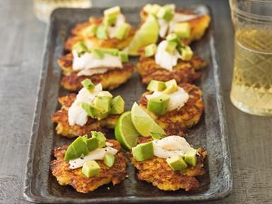 Potato cakes with smoked fish and avocado