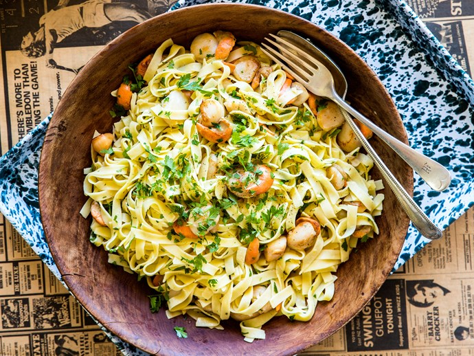 """We take that back, it's clearly [tagliatelle with scallops and parsley lemon butter](https://www.womensweeklyfood.com.au/recipes/tagliatelle-with-scallops-and-parsley-lemon-butter-28597