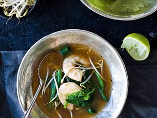 Fish broth with lemongrass and jumbo prawns