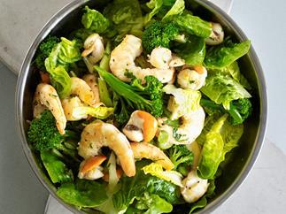 Warm spring salad of prawns and scallops