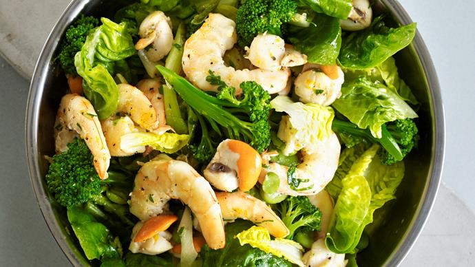 Warm spring salad of prawns and scallops