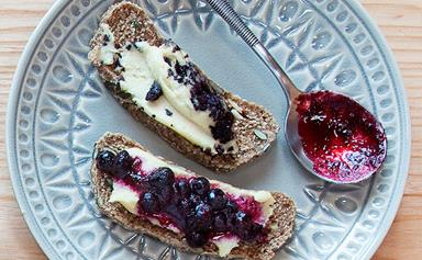 Blackcurrant, blueberry and juniper berry preserve