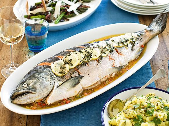 "**[Whole baked salmon in parcel recipe](https://www.womensweeklyfood.com.au/recipes/whole-baked-salmon-in-parcel-recipe-25030|target=""_blank"")**  This technique for cooking the salmon is simple, packed with flavour and it's also a healthy option. The recipe will also work well with other whole fish, such as snapper, hapuku or cod, or with fillets."