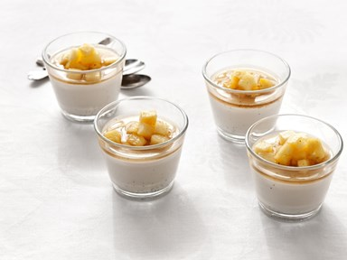 Coconut cream puddings with pineapple compote