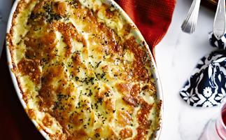 Potato and pancetta bake