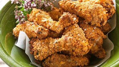 Crispy chicken drumsticks