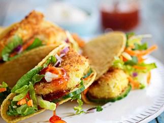 Crispy chicken tacos