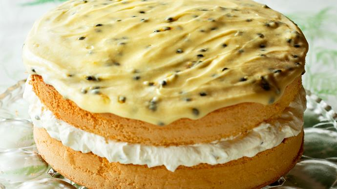 Feather sponge cake with passionfruit icing