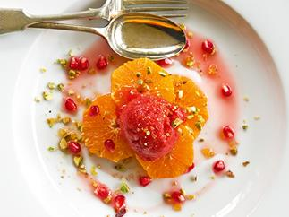 Strawberry sorbet with tangerine Campari syrup