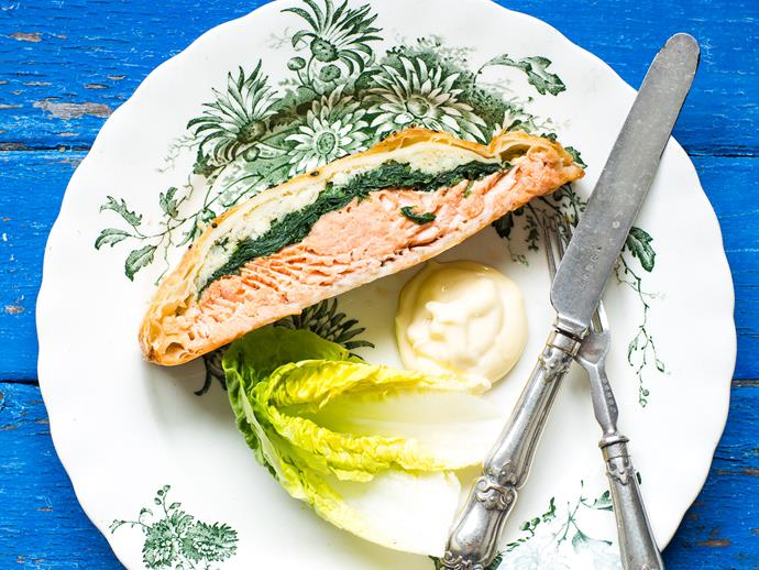 "**[Salmon Wellington](https://www.womensweeklyfood.com.au/recipes/salmon-wellington-28614|target=""_blank"")**  An impressive dish with attractive layers of golden pastry, greens and vibrant salmon."