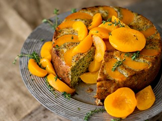 Peach, thyme and poppy seed cake