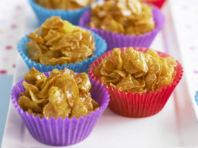 "**[Honey joys](https://www.womensweeklyfood.com.au/recipes/honey-joys-28579|target=""_blank"")**  Sweet honey meets crunchy cornflakes in this classic afternoon treat."
