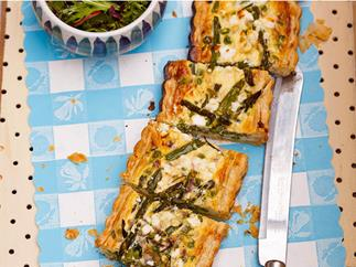 Spring vegetable tart with salad