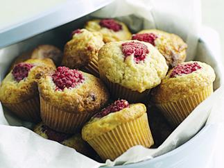 Raspberry and banana mini muffins