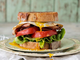 Bacon and duck egg sandwich