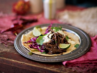 Beef tacos with jalapeño crema