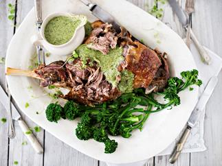 Slow-roasted lamb leg with spring coulis and broccolini