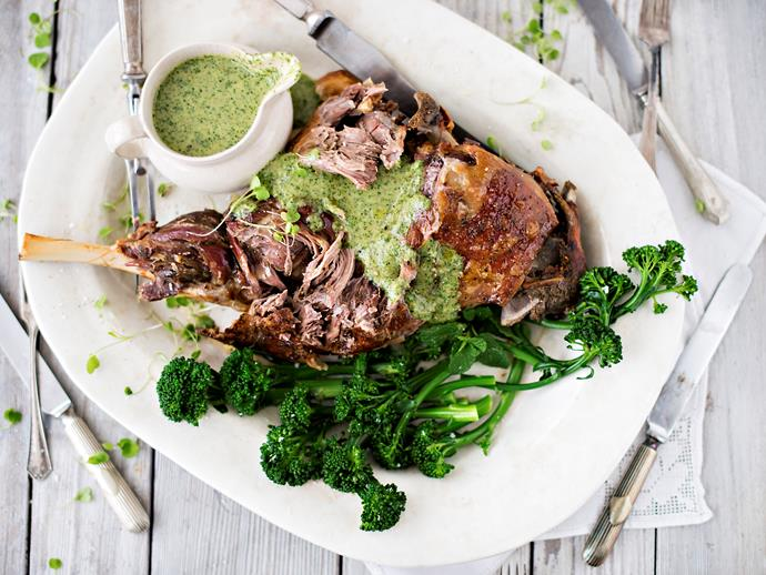 "[Slow-roasted lamb leg with spring coulis and broccolini](http://www.foodtolove.com.au/recipes/slow-roasted-lamb-leg-with-spring-coulis-and-broccolini-24385|target=""_blank"")"