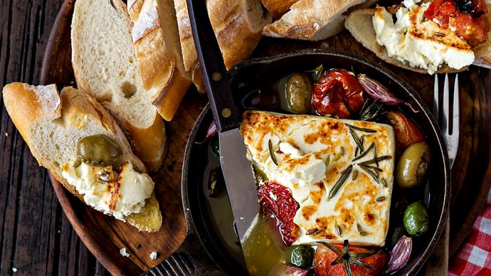 Roasted feta with olives