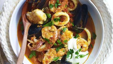 Spanish seafood stew with aioli