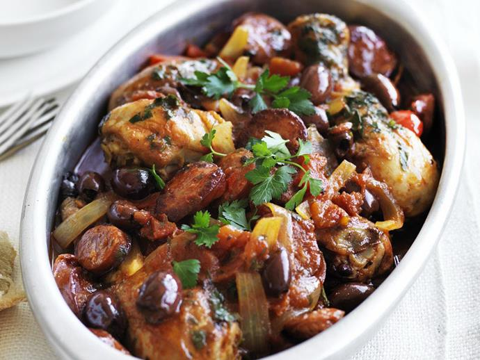 "Packed full of protein and flavour, this hearty [chicken and chorizo stew](https://www.womensweeklyfood.com.au/recipes/chicken-and-chorizo-stew-28586|target=""_blank"") is brilliant on a cool evening for a tasty family dinner without the hassle."