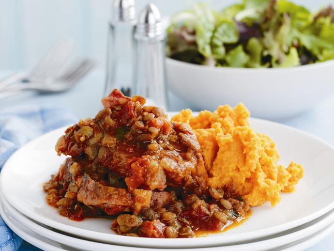 """This thick, hearty [lamb neck chop and lentil stew](https://www.womensweeklyfood.com.au/recipes/lamb-neck-chop-and-lentil-stew-with-kumara-carrot-mash-28588