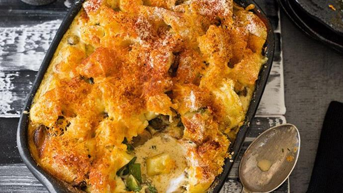 Russian–style potato and fish casserole