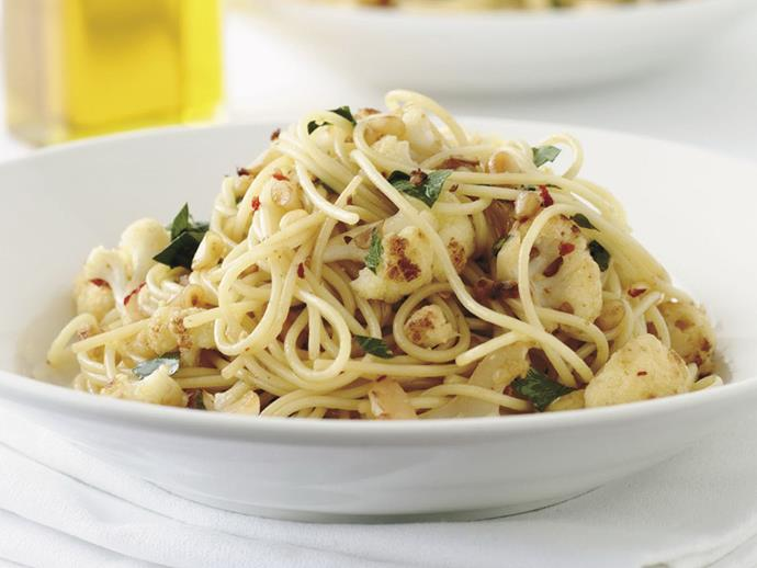 """Quick, tasty and filling, this [cauliflower chilli spaghetti](https://www.womensweeklyfood.com.au/recipes/cauliflower-chilli-spaghetti-6467
