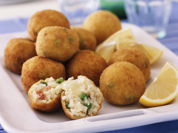 """**[Arancini](https://www.womensweeklyfood.com.au/recipes/arancini-6818