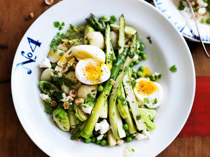 "**[Warm green salad with soft eggs and hazelnut dressing](https://www.womensweeklyfood.com.au/recipes/warm-green-salad-with-soft-eggs-and-hazelnut-dressing-27858|target=""_blank"")**  Light, fresh and tasty, this warm green salad is beautiful topped with runny soft-boiled eggs, creamy cheese and a gorgeous hazelnut dressing. Enjoy it on it's own, or serve as a gourmet share platter for your next dinner party."