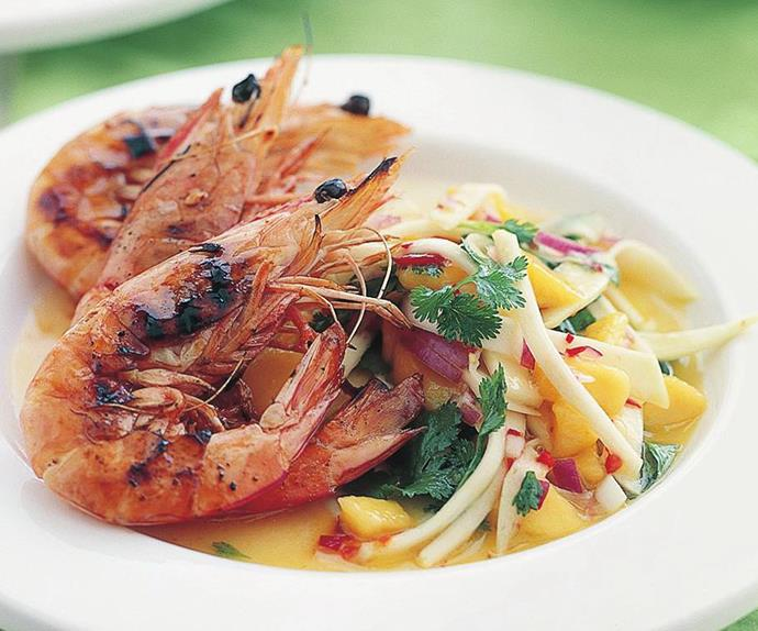 Char-grilled prawns with mango chilli salsa